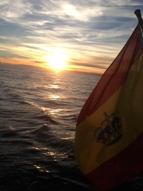 puesta de sol bandera