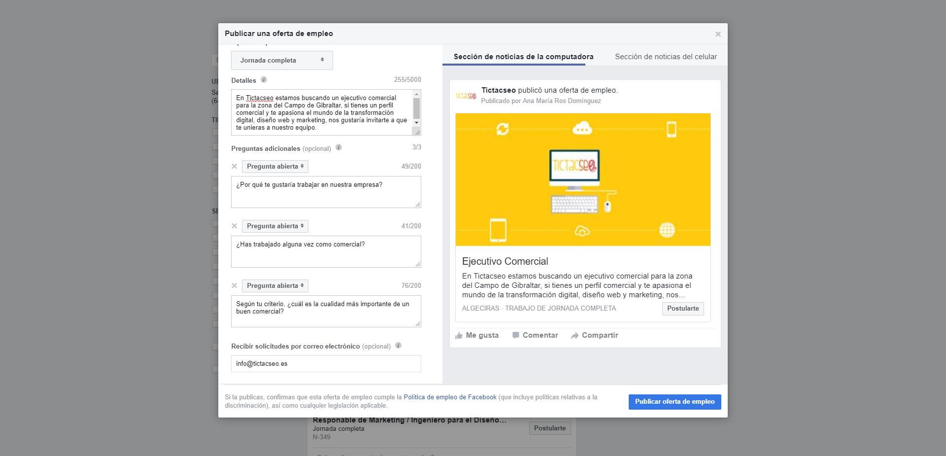 paso 2 para publicar una oferta de empleo en facebook