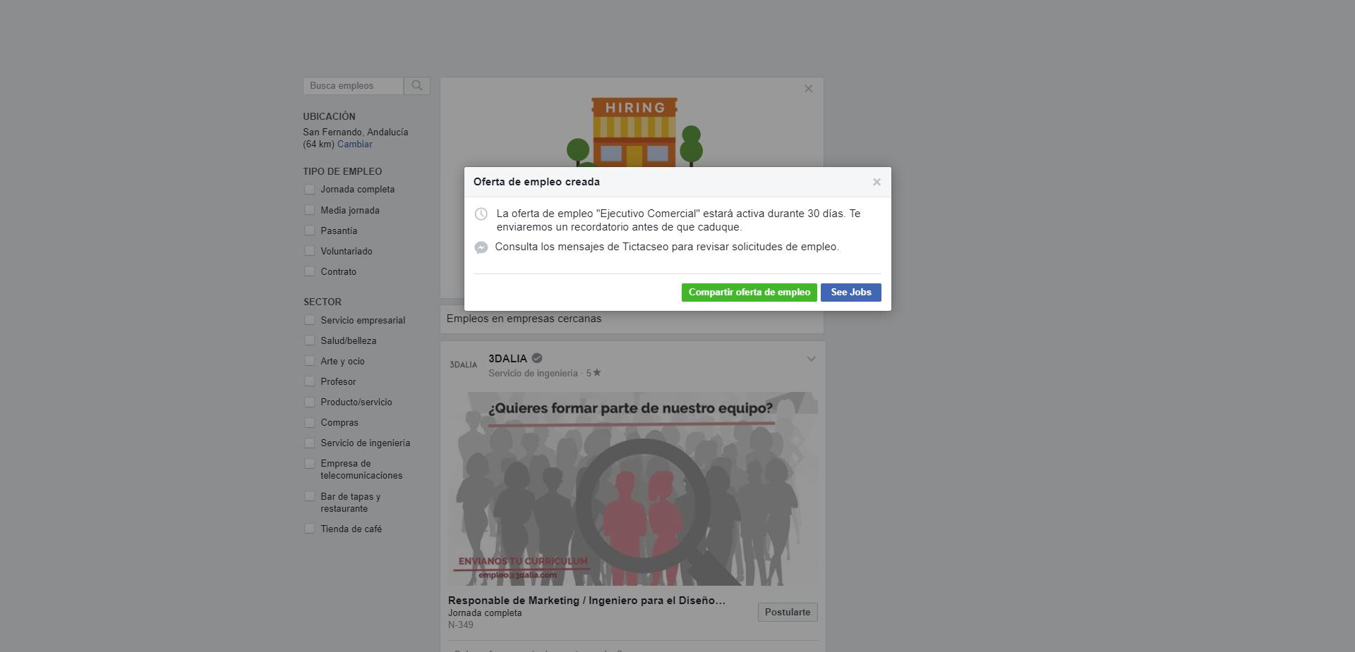 paso 3 para publicar una oferta de empleo en Facebook