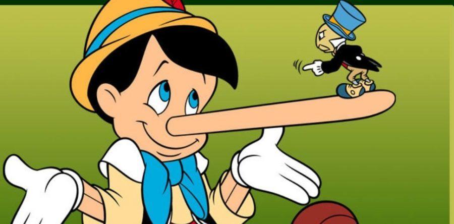Pinocho miente y le crece la nariz