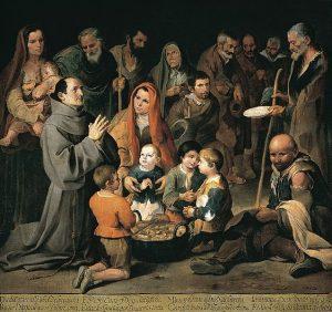 San Diego de Alcalá dando de comer a los pobres Murillo