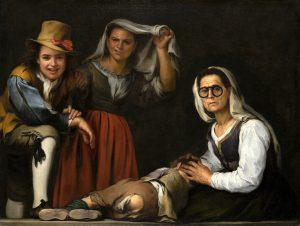 Cuatro figuras en un escalón Murillo